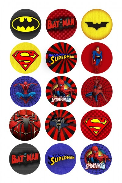 Superheroes Free Printable Toppers, Labels Or Stickers