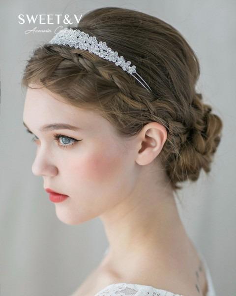 Sweetv Romantic Crystal Hair Bands Flower Halo Clear Rhinestone