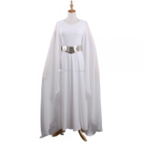 The Hot Movie Sw Princess Leia Costume White Dress Cosplay Costume