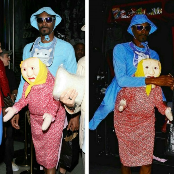 Snoop Dogg's Giant Baby Costume Attached Back Of Frail Old Woman