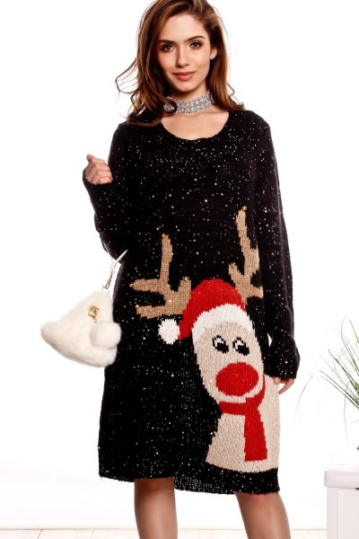 Black Sequin Accent Long Sleeve Ugly Christmas Sweater Dress