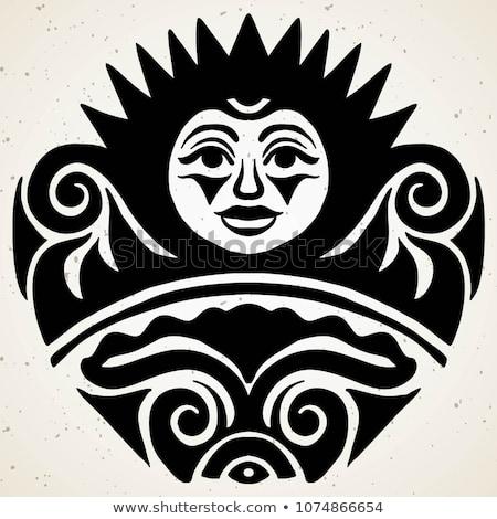 Tribal Tattoo Sun Authentic Artwork Symbol Stock Vector (royalty