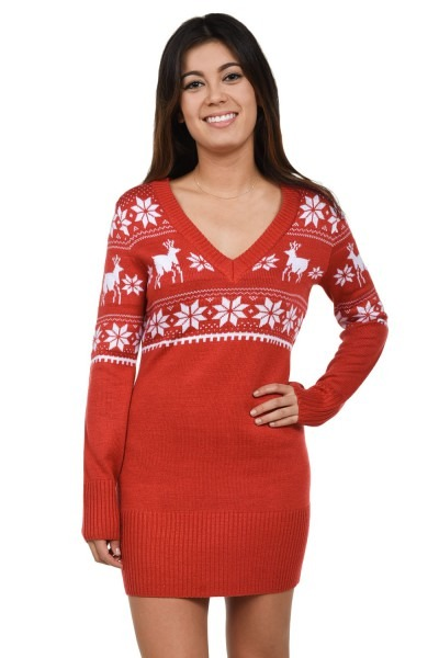 Women S Red Christmas Sweater Dress