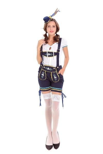 Women Sexy Lederhosen Costume Bavarian Oktoberfest Beer Girl Bar