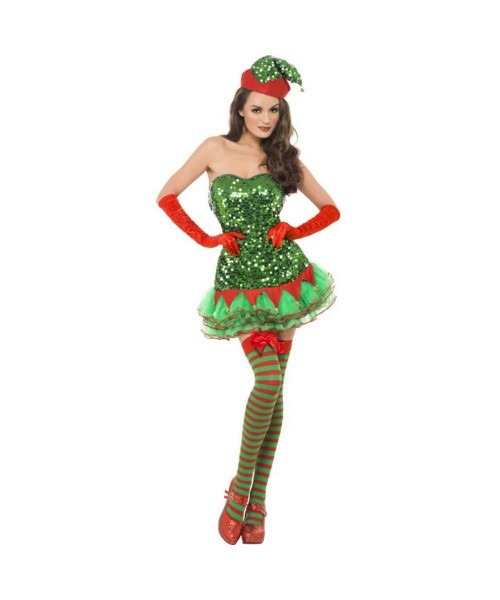 Womens Sequined Elf Dress Costume