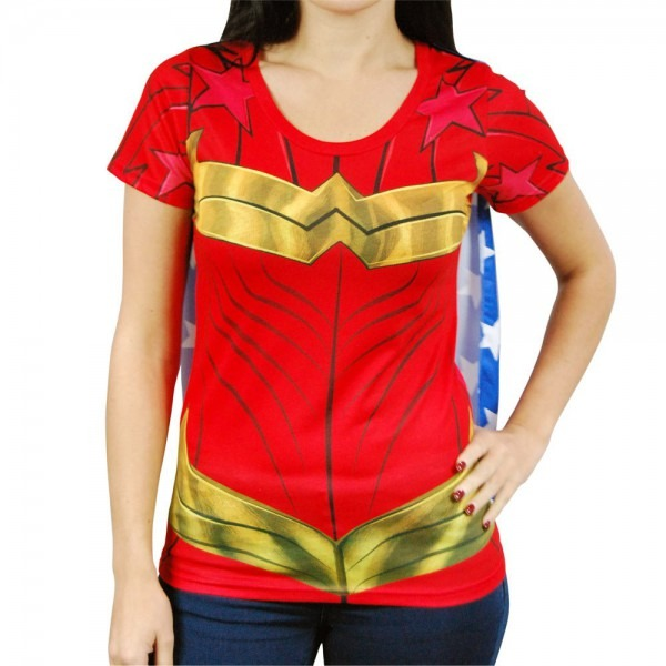 Ladies Dc Comics Superhero Wonder Woman Costume T Shirt With Cape