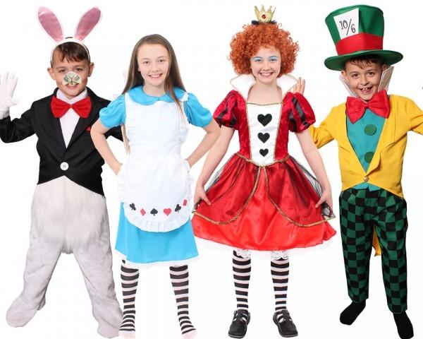 Wonderland Kids Book Character Costumes Queen Alice Hatter Mr