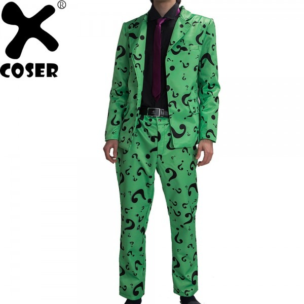 Xcoser Xcoser Riddler Costume Suit Adult Mens Question Mark