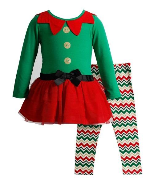 Youngland Green & Red Elf Dress & Leggings