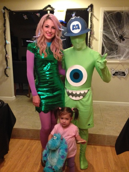 Mike Wazowski, Celia And Boo Costumes From Monsters Inc  Diy