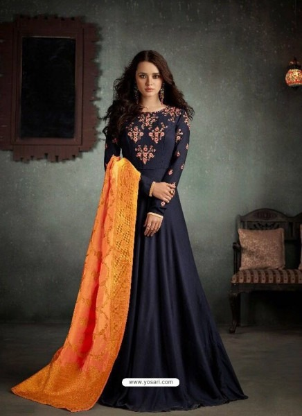 Buy Impressive Navy Blue Rayon Anarkali Suit From India At Yosari