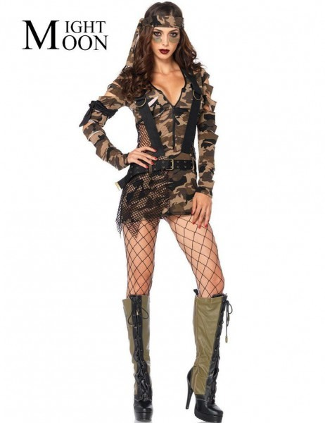 G I Army Chick Camouflage Halloween Costume For Women