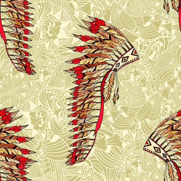 Feather Hat Seamless Pattern  Indian Headdress Realistic Drawing
