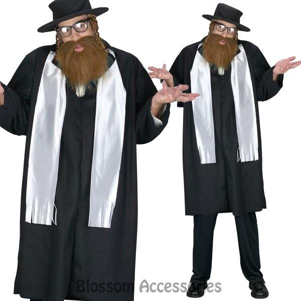Cl770 Rabbi Jewish Religious Coat Tails Hat W  Beard Fancy Dress