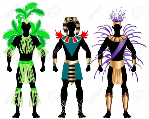 Illustration Of Three Male Costumes For Festival, Mardi Gras