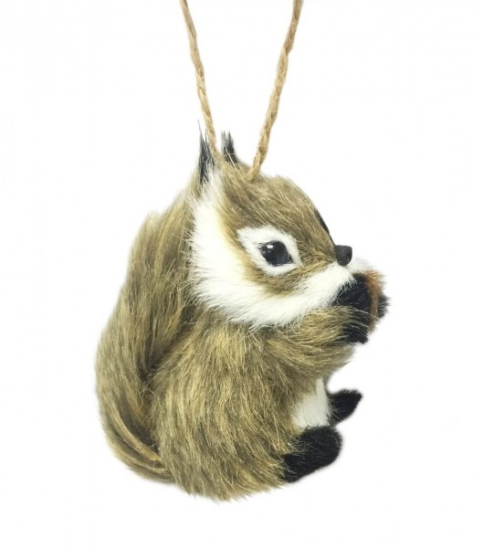 Maker's Holiday Christmas Furry Baby Squirrel Ornament