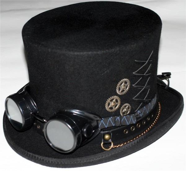 Steampunk Victorian Gothic Genuine Wool Mens Mad Hatter Top Hat