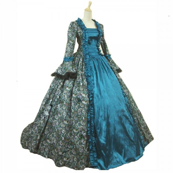 18th Victorian Gown Ball Gown Print Dress Civil War Costume