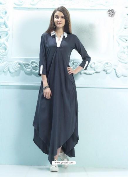 Buy Carbon Rayon Plain Kurti From India At Yosari Com   Model