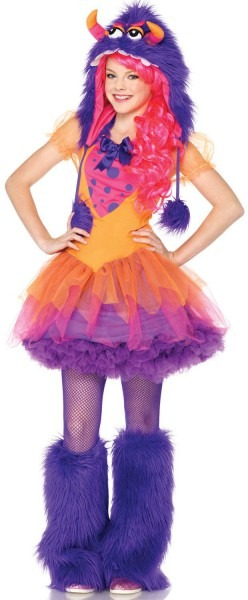 Cute And Colorful Girls Monster Costume For Halloween And Play