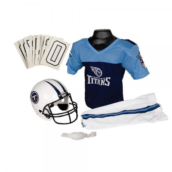 Tennessee Titans Youth Nfl Deluxe Helmet And Uniform Set (medium