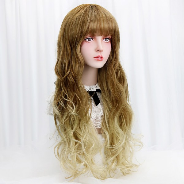 29  Cosplay Blonde Wig With Bangs Brown Ombre Long Wavy Synthetic
