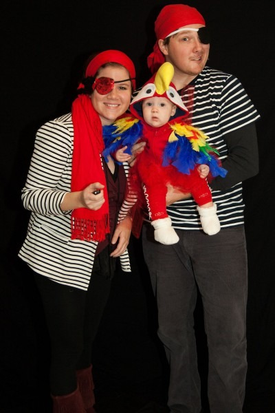 Pirate Family Costume Idea For Halloween With Parrot Baby