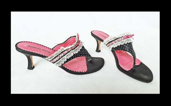 Isabella Fiore Naughty French Maid Vintage Mules Thongs Sandals