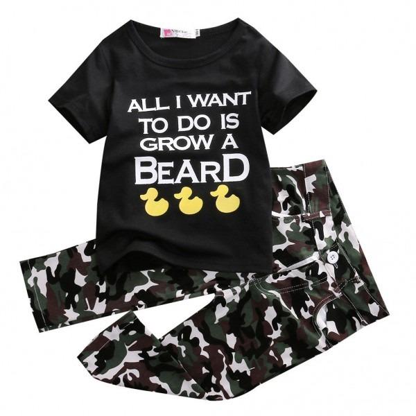 2pcs Children Baby Infant Clothes Army Green 2pcs Boys Girls