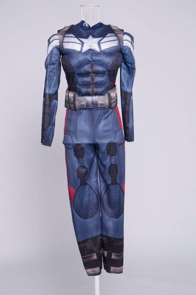 Genuine Boys Captain America Costume Movie 2 Muscle Anime