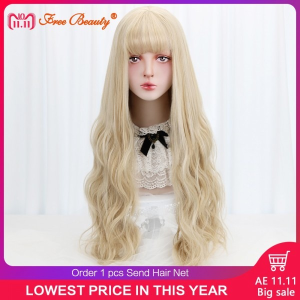 32  Cosplay Blonde Wig With Bangs Long Wavy Synthetic Hair Cosplay