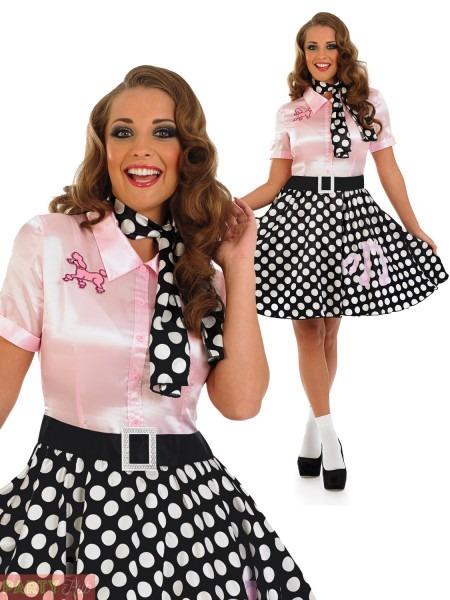 Ladies 1950s Rock N Roll Dress Womens Poodle Grease Fancy Dress