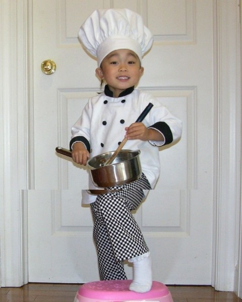 Toddler Chef Hat, Coat, And Pants Halloween Costume, Portrait