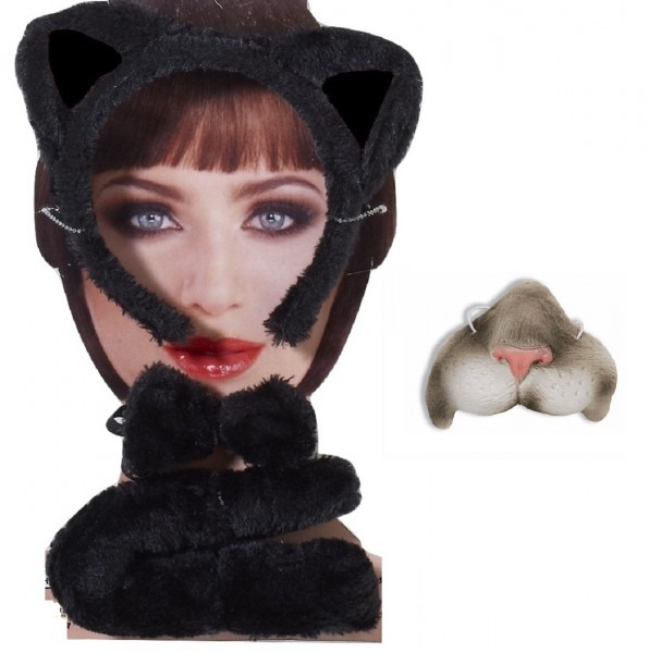 Black Gray Cat Kit Mini Nose Mask Ears Headband Tail Kitty Animal