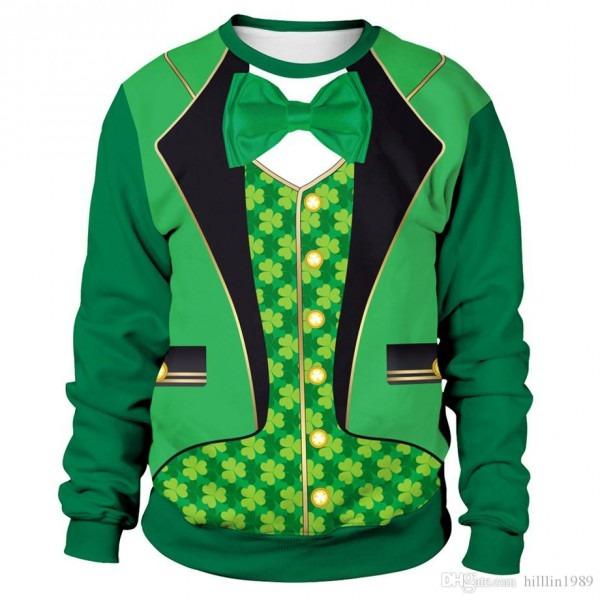 2019 3d Digital Green Leprechaun Suit Print Hoodies St  Patrick's