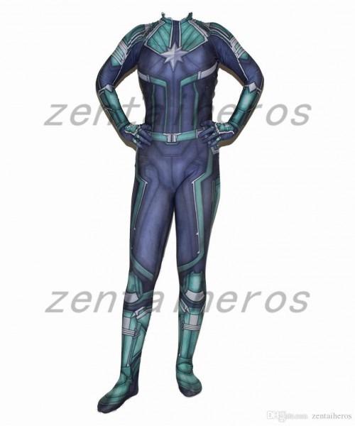 3d Printed Movie Anime Captain Marvel Kree Superhero Lycra Zentai