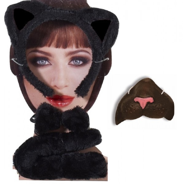 Black Kitty Cat Kit Mini Nose Mask Ears Headband Tail Animal