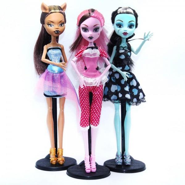 3pcs Set Dolls Monster Draculaura Clawdeen Wolf  Frankie Stein