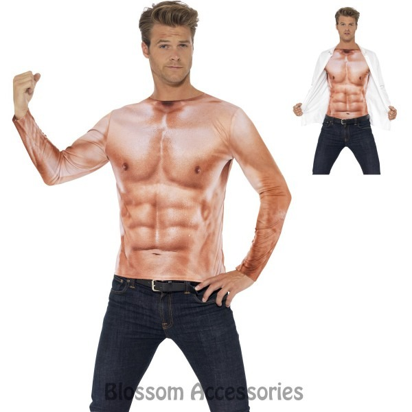 Cl712 Realistic Instant Muscles Top Long Sleeves Shirt Adult Mens
