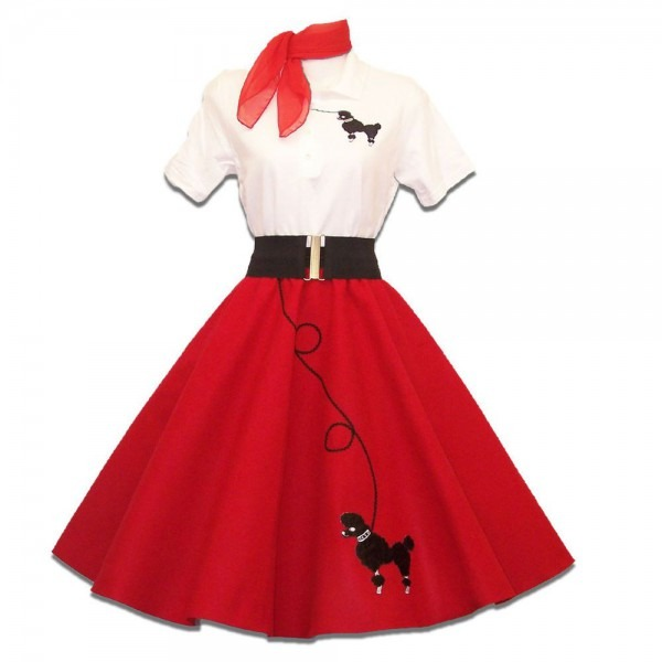 6 Pc Adult 50's Poodle Skirt Outfit Costume