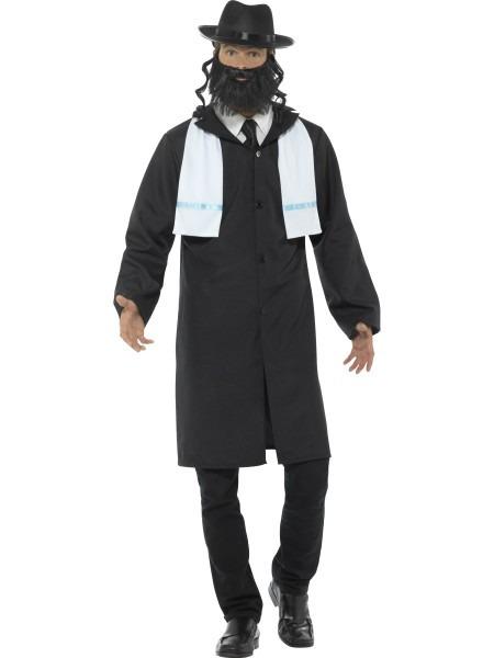 Rabbi Mens Fancy Dress Religious Jewish Hat & Beard Adults Saint
