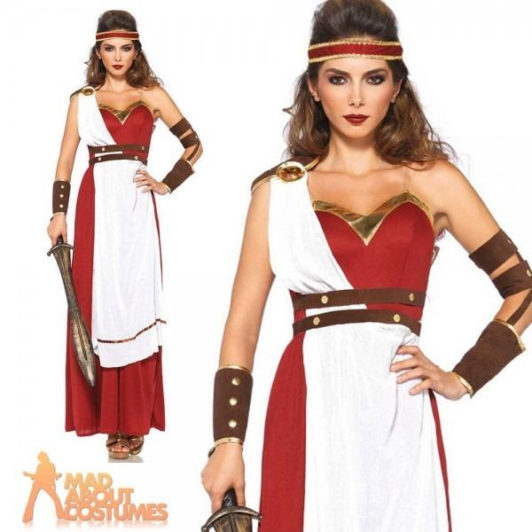 Adult Spartan Goddess Costume Roman Warrior Ladies Fancy Dress