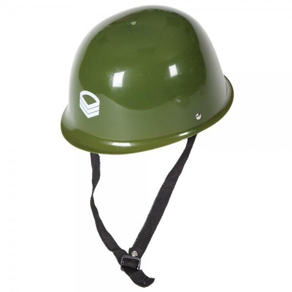 Adults Green Plastic Army Military Helmet Hat Fancy Dress
