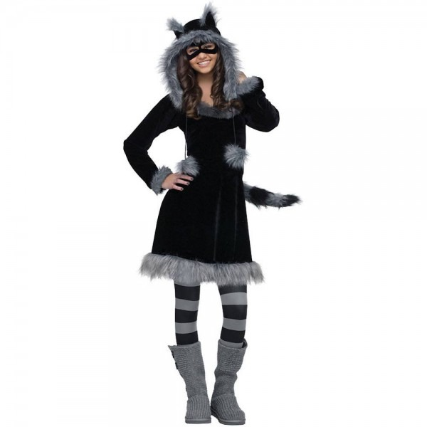 Amazon Com  Fun World Sweet Raccoon Teen Costume, Black,junior (0