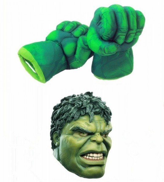 Costume Green Hulk Mask Hulk Smash Hands Fists Big Soft