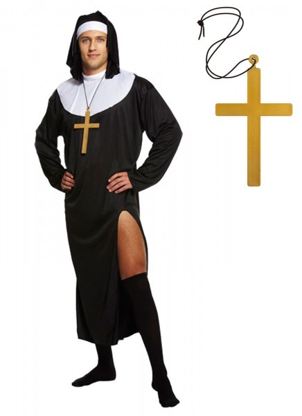Male Nun Fancy Dress Religious Outfit Mens Adult Stag Do Funny