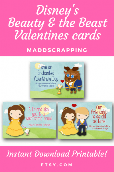 These Customizable Beauty And The Beast Valentines Cards Are