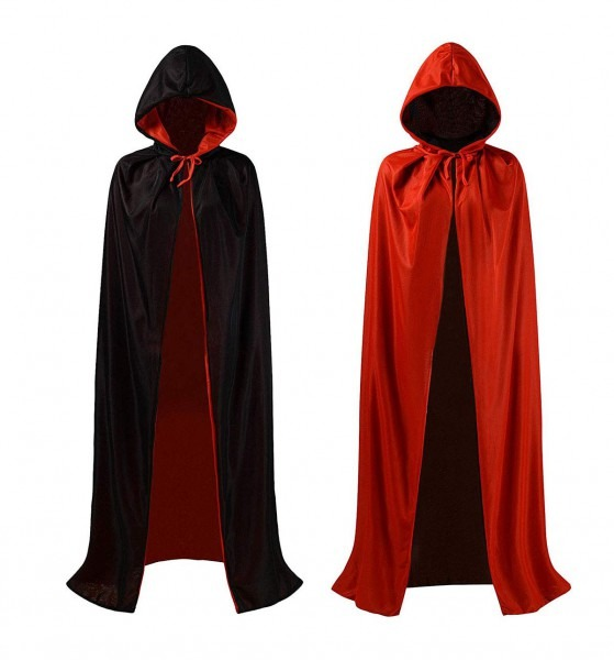 Jyohey Black Red Cloak Adult Hooded Cloak Double Sided Halloween