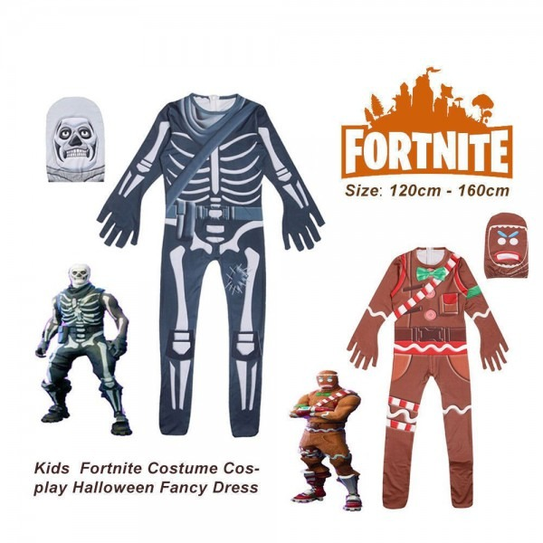 Fortnite Skull Trooper Halloween Costume Rare Zentai Cosplay