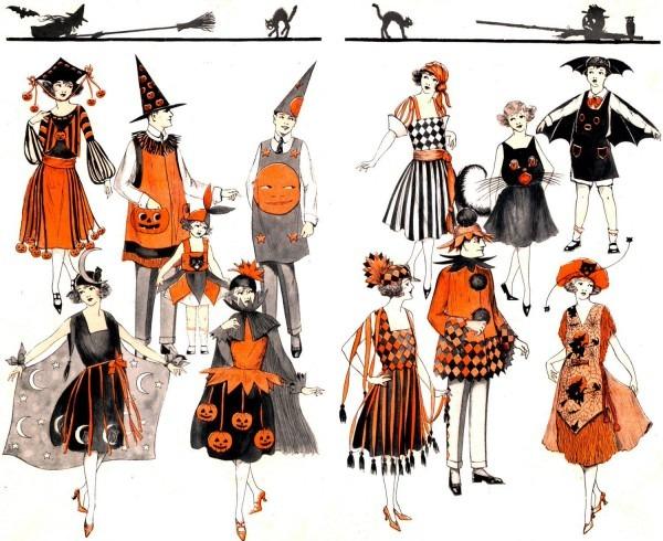 Superb! Rare! Art Deco Halloween Costumes! Vintage Digital
